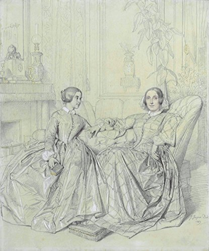 Spiffing Prints Jean Ingres - Marie d'Agoult and her Daughter Claire d'Agoult - Extra Large - Semi Gloss - Brown Frame