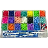 Loom Bands Box Kit | 4500 bands (colours separated) | 20 PVC Charms | 200 S Clips | 5 Hooks | Board