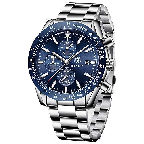 BENYAR Herren Uhr Chronograph Analogue Quartz Wasserdicht Business Blau Zifferblatt Armbanduhr mit Edelstahl Armband (Herren Uhren Blau Zifferblatt)