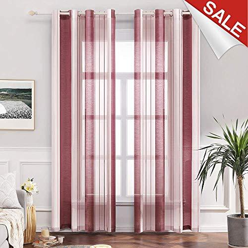 Transparente Gardine aus Voile mit Ösen Schlaufenschal Ösenschals Transparent Fensterschal Wohnzimmer Schlafzimmer 2er Set 140 * 225 cm Stripe Rot ()