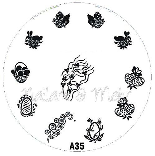 Pochoir de stamping # A de 35 ~ ~ motifs de Pâques ~ ~