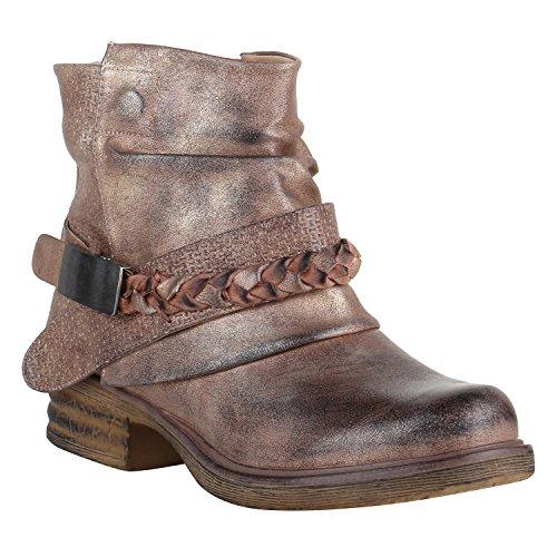 Gefütterte Damen Biker Boots Nieten Schnallen Stiefeletten Schuhe 149659 Rose Schnalle Carlton 39...