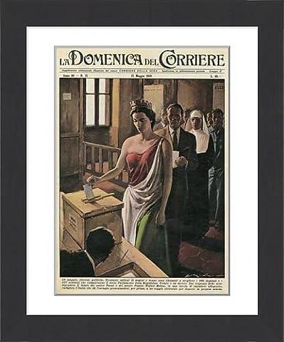 Framed Print of Italia casts her votes, 1958