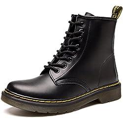 Donna Pelle Moda caviglia Stivali Inverno Classici Martin Stivaletti Uomo Impermeabile Stringate Boot,Nero/pelliccia 39