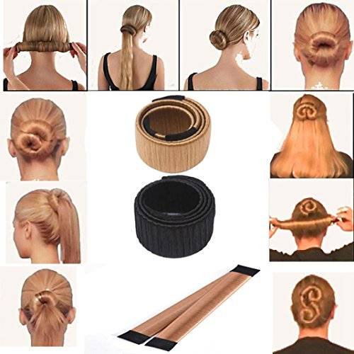 Coolster Damen Haarstyling DIY Tool Donut Hair Bun Maker & Fashion Haare Dutt Styling Werkzeug Haarknoten Frisurenhilfe -Schwarz (Blonde Lange Perücke Mit Blume)