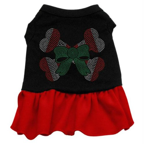 Mirage Pet Products Candy Cane Crossbone Strass 12 Zoll Pet Kleid, Medium, Schwarz/Rot (Kleid Cane Candy)