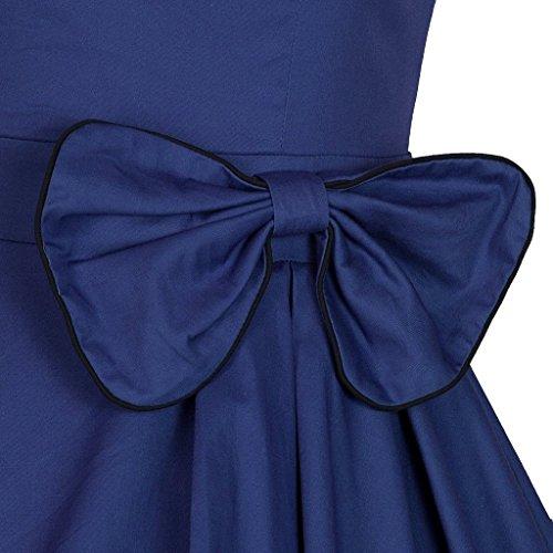 Eudolah Robe vintage patineuse sans manche avec un noeud robe de cocktail Femme Bleu