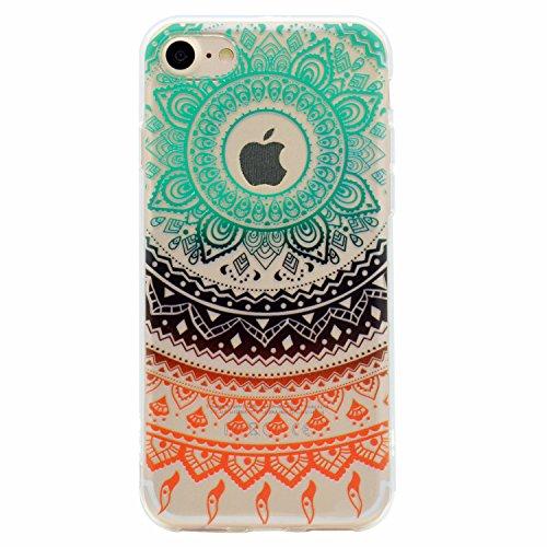 iPhone 7 Hülle (4.7 Zoll), E-Lush TPU Material Gehäuse, Schlank und Leichtes Transparentes Stoßfängergehäuse [Anti-Kratzer, Schockresistent] Schutzhülle für iPhone 7 (4.7 Zoll) - Herz Bunte Mandala