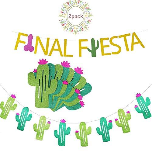 AMAZYJ Finale Fiesta Banner und Kaktus Man Girlande Druck Glitzer Papier geeignet für mexikanische Fiesta Party Cheers Banner Bachelorette Hochzeit Party Dekoration Supplies, Style 2