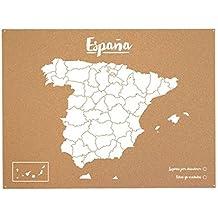 Miss Wood Woody Map L - Mapa del mundo de corcho con diseño España , color blanco