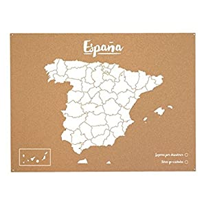 Miss Wood Woody Map L – Mapa del mundo de corcho con diseño España , color blanco