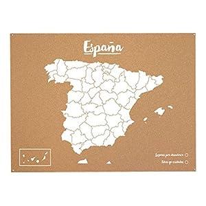 Miss Wood Mapa de España de Corcho, Pino, Blanco, L-45x60CM
