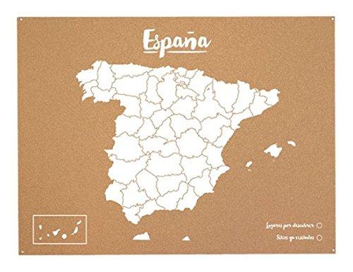 Miss Wood Woody Map L - Mapa del Mundo de Corcho con diseño España, Color Blanco