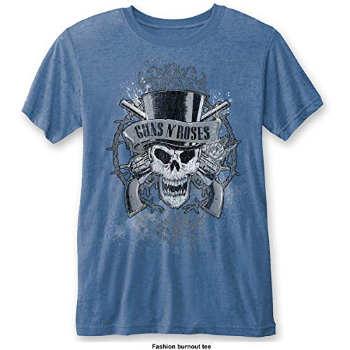 GunsRoses Guns N' Roses Faded Skull Camiseta, Blue (Blue Blue),...