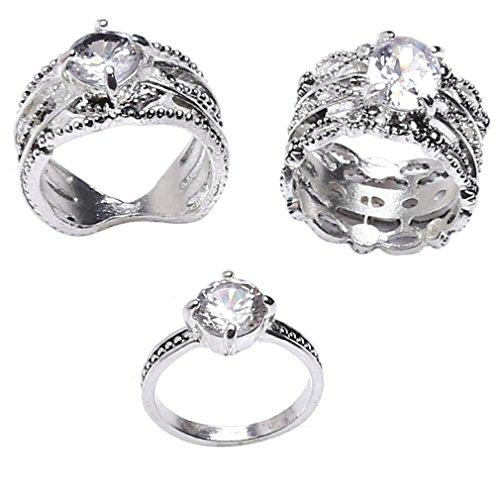 LnLyin 3-Teiliges Ring-Set für Fingerknöchel und Nägel, mit Kristallen