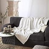 Knitted Kuscheldecke torsion 100% baumwolle wolle decke sofadecke mittagessen pause linie bürodecke bettdecke werfen decke raum Strickdecke für Fernsehen oder Nap auf dem Stuhl, Sofa und Bet Tagesdecke (120×180cm, Weiß)