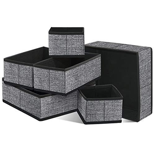 Homyfort set di 6 organizer armadio, ideali come organizer cassetti, portabiancheria in tessuto traspirante, nero lino, xacb6p