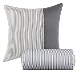 chooty Oxford Charcoal-Hyannis Hypoallergenic Fiber Pillow, 19 by 19-Inch, Graphite, Set of 2