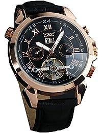 ufengke® movimiento reloj de pulsera muñeca antiguos números romanos elegantes mecánico automático calendario de la correa para los hombres,negro