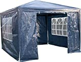 Airwave 3 x 3 m Party Tent Gazebo Marquee with Unique WindBar and Side Panels Waterproof Canopy, Blue, 120g