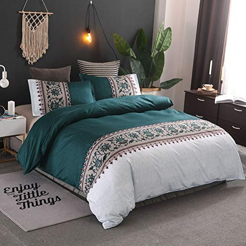 DIADIR Bettwäsche-Set, stilvoll, luxuriös, gestreifter Bettbezug aus weicher Mikrofaser, Jacquard-Bettbezug mit Reißverschluss King grün -