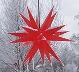 Melchior Outdoor II Rot, sehr stabiler 3D Außenstern Ø 60 cm, mit 20 Spitzen, inkl. 4 m Außenkabel / Weihnachtsstern, Adventsstern