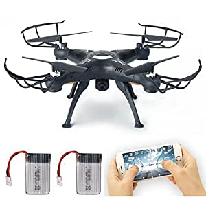 RC Drone with wifi HD FPV Camera Remote Control Airplane + Extra Battery Support Headless One Key Home 3D Flips Quad Copter Helicopter Hover Drone Remote Controller with LCD Display Screen Lamaston X5SW-1 (Black)
