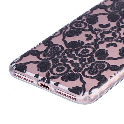 Etui iphone 7 Plus, Coque iphone 7 Plus, Cozy Hut® Oiseaux de plumes noires Pattern Etui Housse Téléphone Couverture de doux Plastique Coque pour iphone 7 Plus - plumes d'oiseaux black Flowers