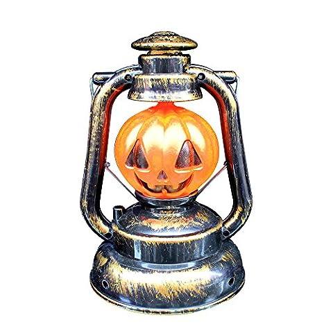 Eizur Portable Halloween Lanterne avec Horreur Sonner Squelette Citrouille Lampe Accrochant LED Lumières Décoration Fête Partie Jardin Décor