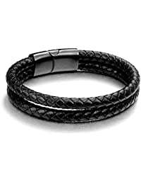 High Quality Moneekar Jewels Mens Bracelet Black Stainless Steel Magnetic Clasp Braided Real Leather Braid Bracelet Bangle Leather Cord Bracelet for Men