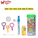 Wembley Crazy 6in1 Pack (Star, Heart, Circle, Wand, Whistle) Bubble Kit NON TOXIC 120ml Refill Inc