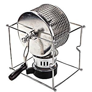 HUKOER Manual Coffee Bean Roaster 304 Stainless Steel Hand Use Coffee Roaster with Burner 300G Coffee Bean Capacity