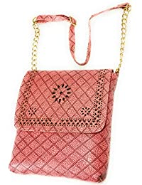 H&V WaterProof Synthetic Leather Stylish Peach Pink Sling Bag (L - 7 Inch X B -3.5 Inch X H - 6.5 Inch)