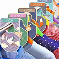 Baby Wardrobe Dividers Set Pack of 20 Animal Themed Closet Organisers Arrange Clothes by Clothing Type Or Age Unisex Cardboard Hanger Rail