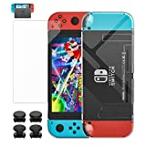 MoKo Case + Screen Protector for Nintendo Switch, Transparent Protective Cover Shell + Tempered Glass Screen Protector with 4PCS Joystick Caps for Nintendo Switch Console & Joy Con Controllers - Clear