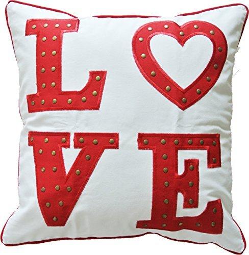 hometale Love Aufnäher mit Metall-Nieten und kontrastierende Paspelierung dekorativer Überwurf-Kissenbezug 45,7cm weiß rot -