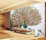 Wxlsl 3D Foto Tapete Benutzerdefinierte Wohnzimmer Wandbild Zwei Pfau Offenen Bildschirm Bild Sofa Tv Hintergrund Wandaufkleber Tapete Für Die Wand-250cmx175cm