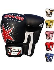 Gants de boxe Farabi uniques, MMA, Muay Thai et gants Punching Bag formation 6OZ, Star Noir