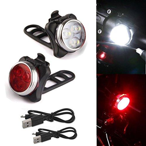 HCFKJ Radfahren Fahrrad 3 Led Kopf Vorne Mit Usb Wiederaufladbare Schwanz Clip Licht Lampe