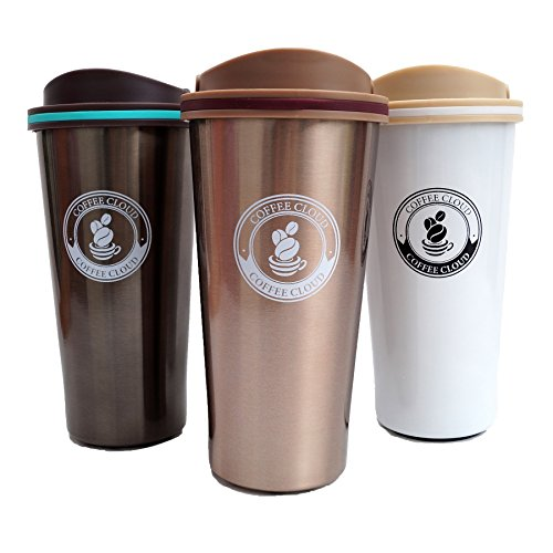 Edelstahl Kaffeebecher von Coffee Cloud | Coffee to go | 500ml | Thermobecher | Thermobehälter | 500ml | Doppelwandig vakuumisolierter Travel Mug | Autobecher | Trinkbecher | Thermo Becher aus Edelstahl | Isolierbecher BPA Frei, Leicht & Auslaufsicher (Bronze)