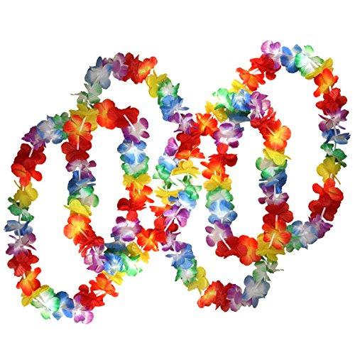 �nze Tropische Blumen von Kurtzy - Lei Jumbo Party Tasche - Hawaii Blumenketten Girlanden Perfekt für Themenbezogenen Geburtstage, Graduierung, Abschlussfeier, Abitur, Weihnachten (Seide Blume Halskette)