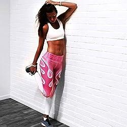 Gaddrt Women Sport Yoga Print Workout Running Pants Fitness Elastic Leggings White Black Gray S-XL from Gaddrt