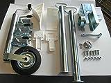 AVB Komplettpaket f. PKW Anhänger Stützen 600 mm , Premiumschloß, Stützrad & Adapter 13 - 7 Keile weiss