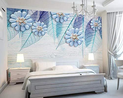 Tapete im nordischen Stil, Holzmaserung, Blätter, Schmuck, Wohnzimmer, Sofa, Nachttisch, Hintergrund, Wand, 3D-Wandbild - Teal Grau-wand-kunst