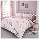 Lions Luxury Duvet Cover Complete Quilt Bedding Set And Fitted Bed Sheet With Pair of Pillow Cases (Star-Unicorn, King)