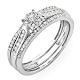 0.40 Carat (ctw) 14 ct White Gold Round Diamond Ladies Bridal Ring Engagement Set with Matching Wedding Band