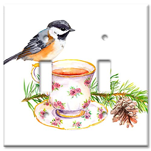 Double Switch Wall Plate (Art Plates Brand Switch/Wandteller - Bird At Tea Time Double Toggle)