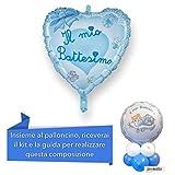 CENTROTAVOLA BATTESIMO BIMBO con Palloncino mylar cuore azzurro, Addobbi Feste Eventi