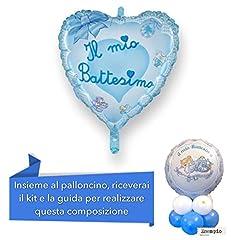 Idea Regalo - CENTROTAVOLA BATTESIMO BIMBO con Palloncino mylar cuore azzurro, Addobbi Feste Eventi