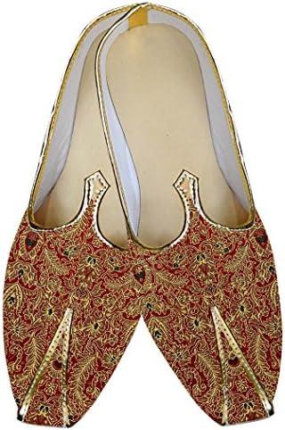 INMONARCH Granate Hombres Boda Zapatos enhebrado de Diseño MJ014840
